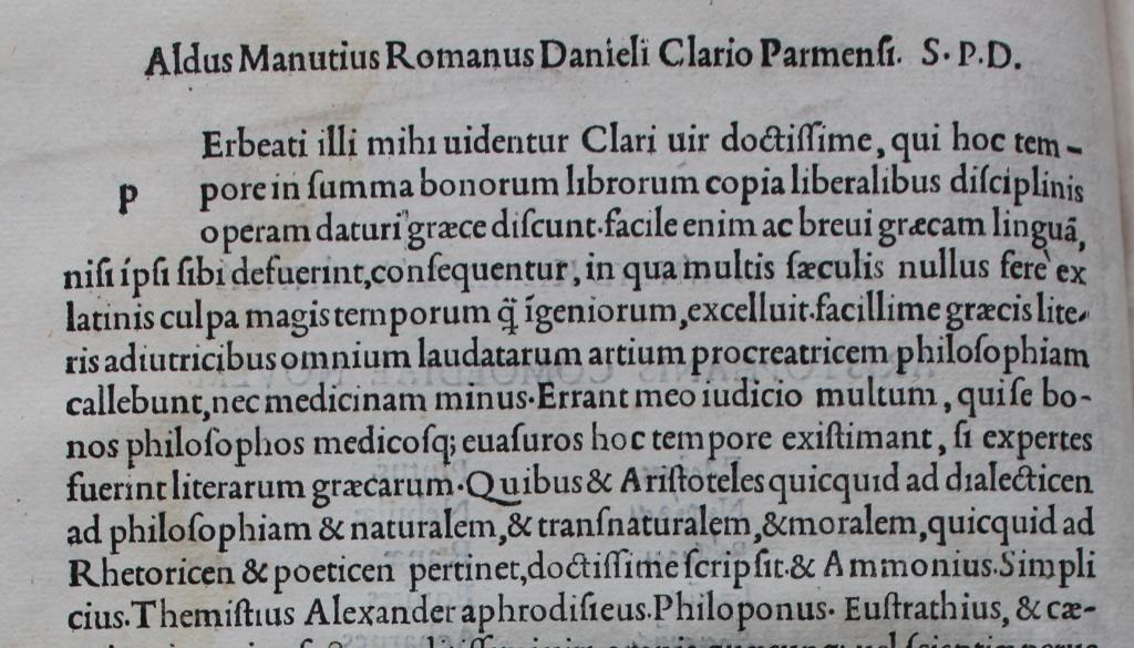 Aldine Roman font in Aristophanes.