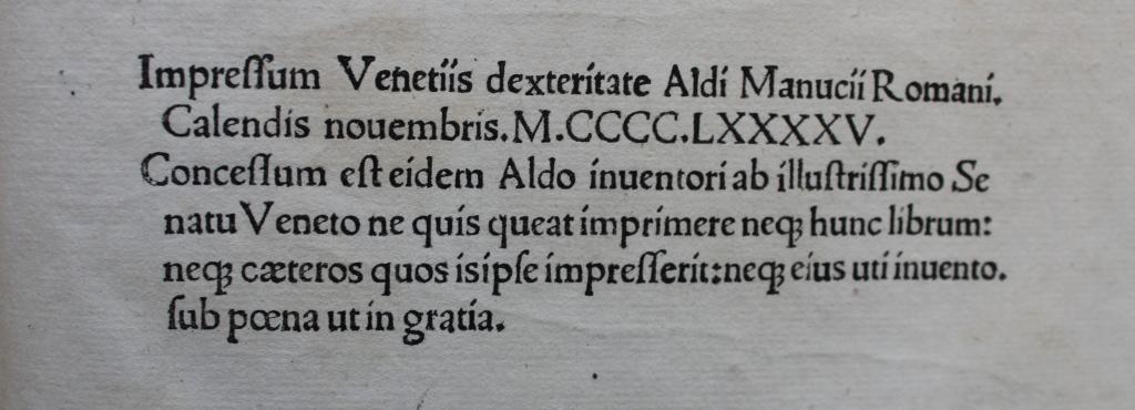 Aristotle 1495 vol 1 note.