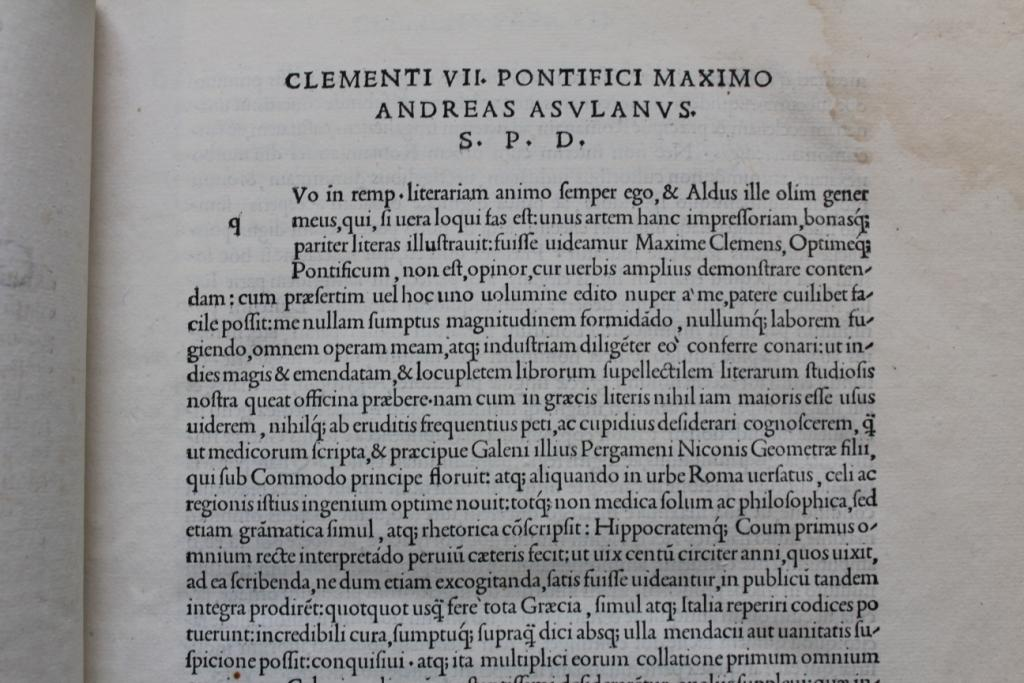 Galen 1525 vol 1 dedication to Pope Clement VII