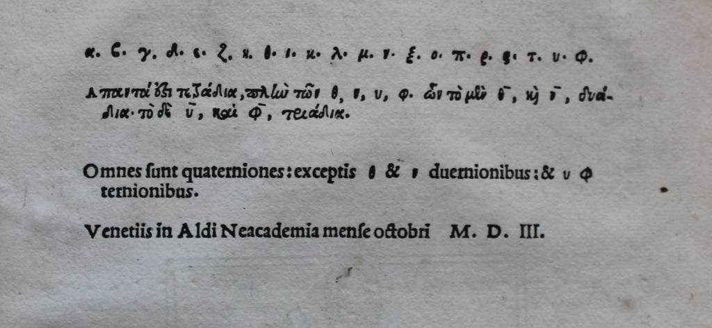 Gemistus Pletho 1503 colophon.