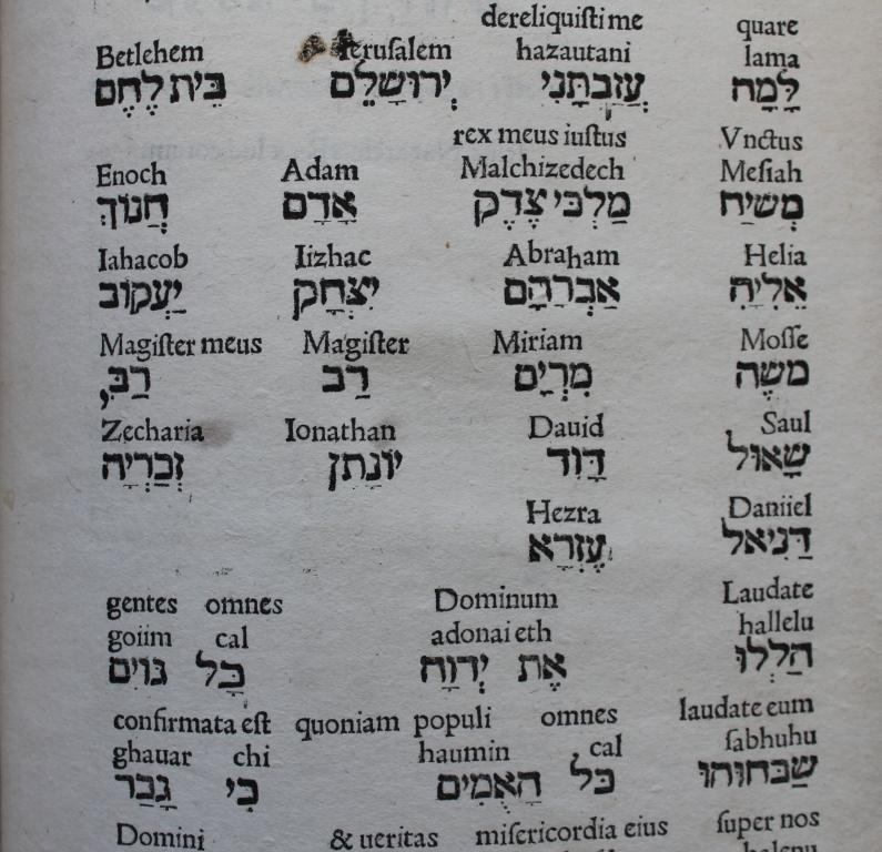 Lascaris 1512 Hebrew names