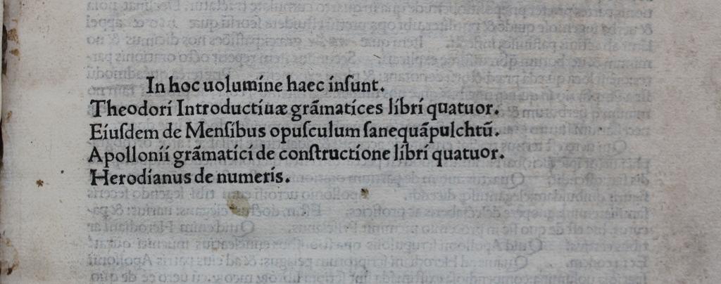 Theodore Gaza 1495 grammar contents list.